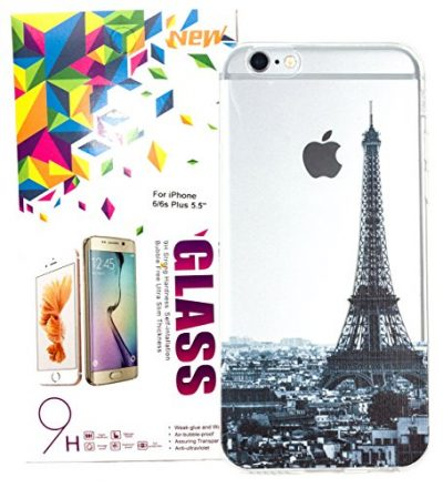 IPhone 6 Plus / 6s Plus Case w/ Tempered Glass Screen Protector, YogaCase InTrends Cover (Cityscape Paris)