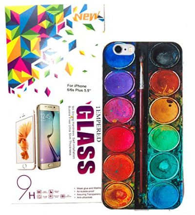 IPhone 6 Plus / 6s Plus Case w/ Tempered Glass Screen Protector, YogaCase InTrends Cover (Colorful Life)