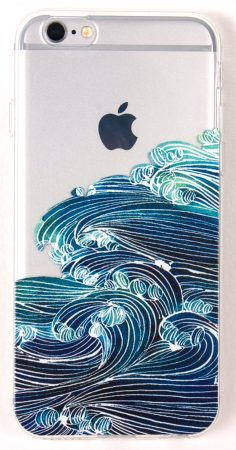iPhone 7 Case, YogaCase InTrends Silicone Back Protective Cover (Japanese Wave)