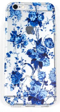 iPhone 8+ Case, YogaCase InTrends Silicone Back Protective Cover (Blue Flowers)