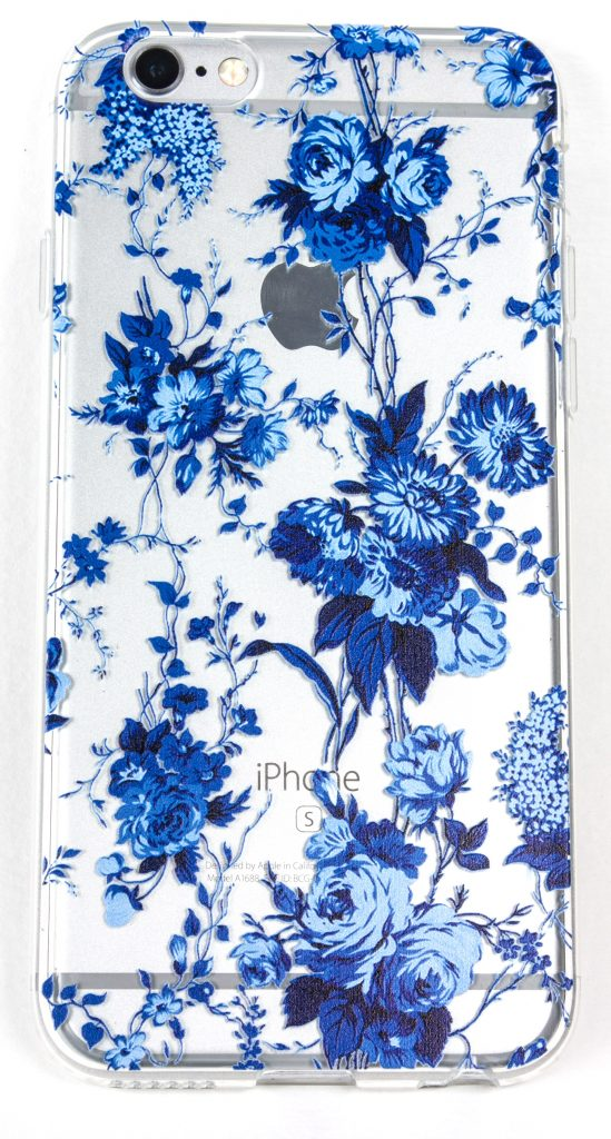 IPhone 6 Plus /6s Plus Case, YogaCase InTrends Silicone Back Protective Cover (Blue Flowers)