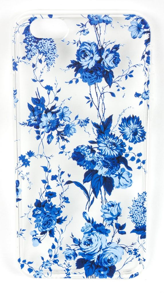 iPhone 8 Case, YogaCase InTrends Silicone Back Protective Cover (Blue Flowers)