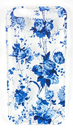 Samsung Galaxy S6 Edge Case, YogaCase InTrends Silicone Back Protective Cover (Blue Flowers)