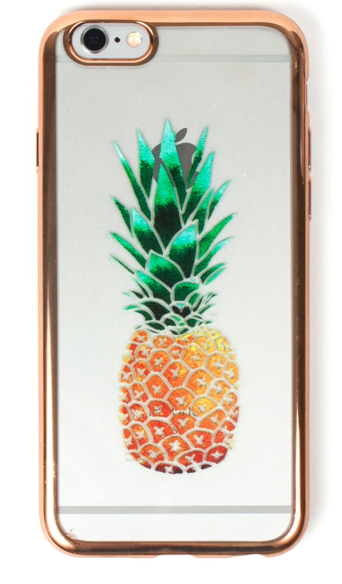IPhone 7+ Case, YogaCase MetalEdge Silicone Back Protective Cover (Pineapple Rose Gold)