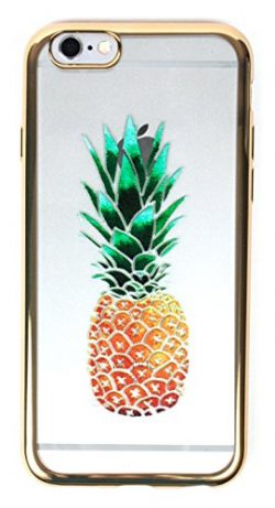 IPhone 6+/6s+ Case, YogaCase MetalEdge Silicone Back Protective Cover (Pineapple Gold)