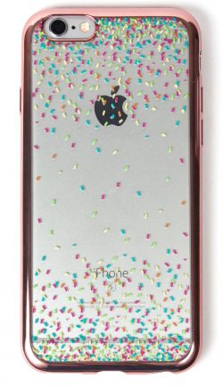 Samsung Galaxy S5 Case, YogaCase MetalEdge Silicone Back Protective Cover (Confetti Rose Gold)