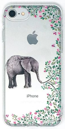 iPhone 8 Case, YogaCase InTrends Silicone Back Protective Cover (Elephant Flowers)