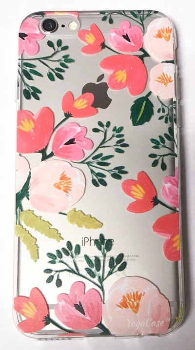 Iphone 8+ Edge Case, YogaCase InTrends Silicone Back Protective Cover (Paper Peonies)