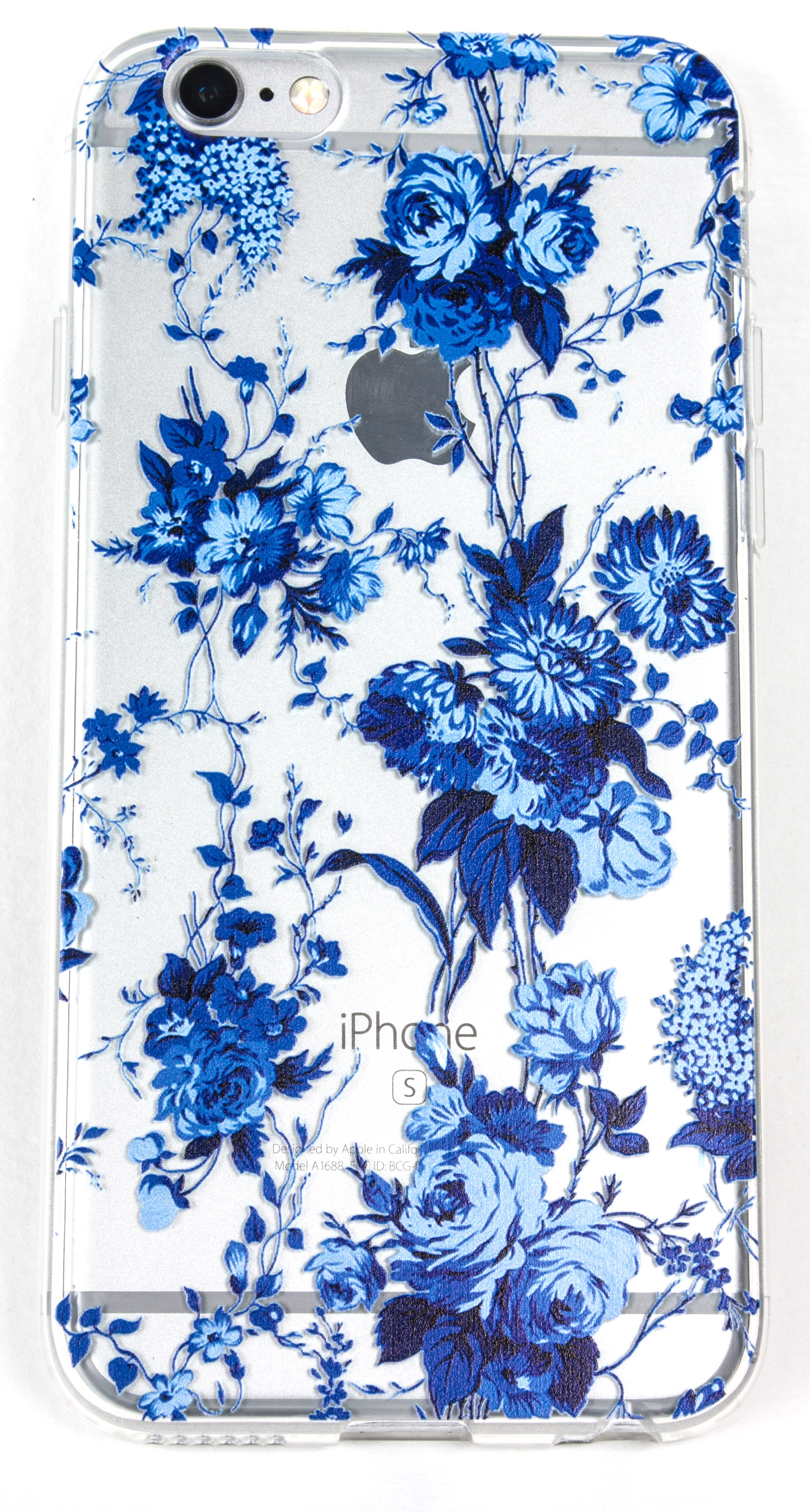 iPhone 7 Plus Case, YogaCase InTrends Silicone Back Protective Cover (Blue Flowers)