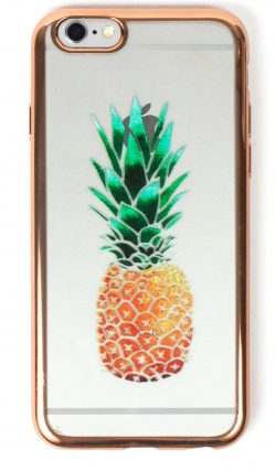 iPhone 8 Case, YogaCase MetalEdge Silicone Back Protective Cover (Pineapple Rose Gold)