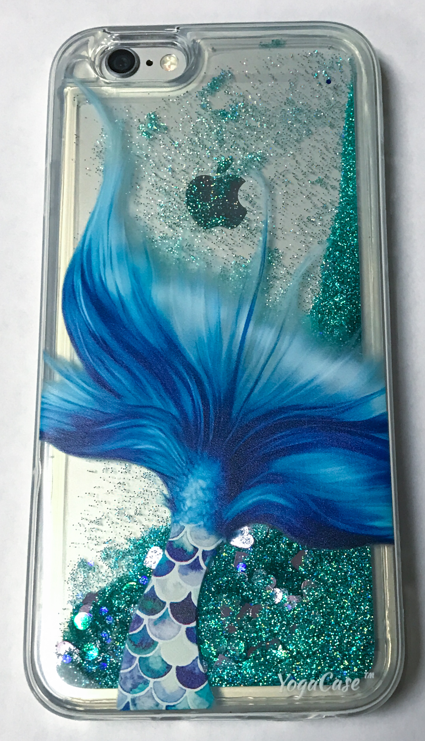 IPhone 6 Plus / 6s Plus, YogaCase Liquid Glitter Back Protective Cover (Mermaid Tale)