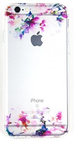 Iphone SE Case w/ Tempered Glass Screen Protector, YogaCase InTrends Cover (Watercolor Flowers)