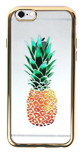 iPhone 8 Case, YogaCase MetalEdge Silicone Back Protective Cover (Pineapple Gold)